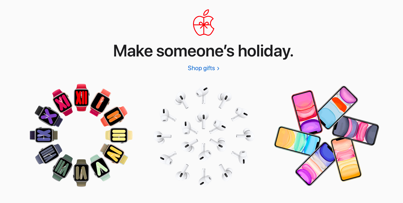 Header image from Apple's homepage on December 2019.